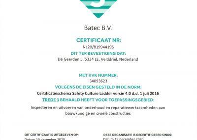 Certificaat SCL trede 3 geldig tot 19-12-2021