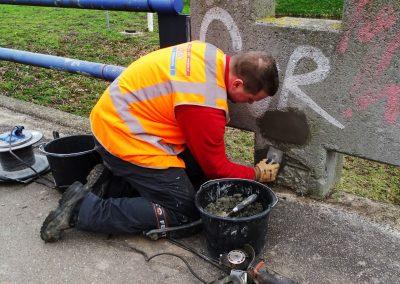 Davey aanbrengen reparatiemortel
